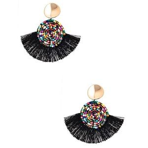 Bead Tassel Earrings Circle Boho Fringe Womens NWT